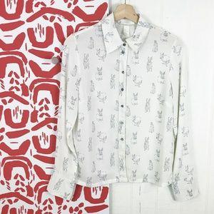 H&M Whimsical Bunny Long-Sleeve Sheer Blouse